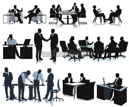 zusammenkunft im buero konferenz diskussion illustration