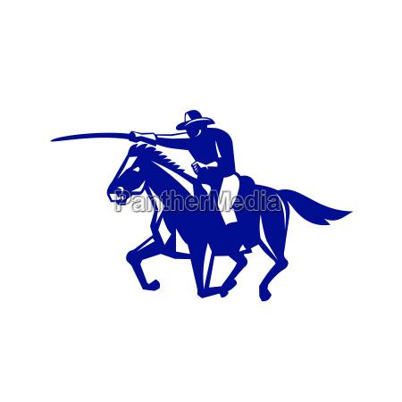 american cavalry charging retro