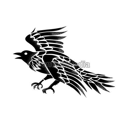 raven flying side tattoo