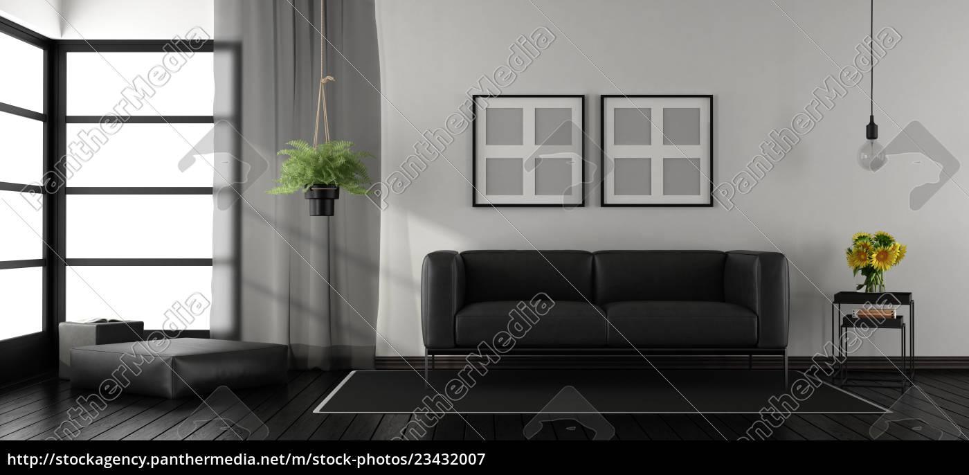 Stockfoto 23432007 Schwarz Weiss Minimalistisches Wohnzimmer