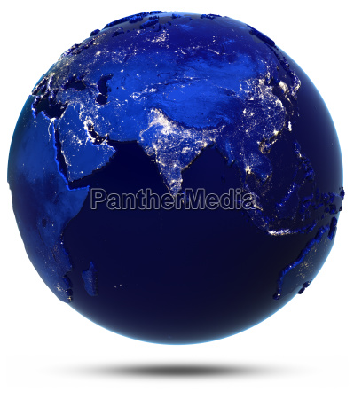 planet earth city light white isolated
