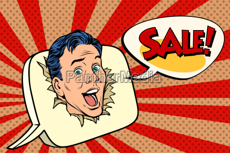 pop art sale background male promoter