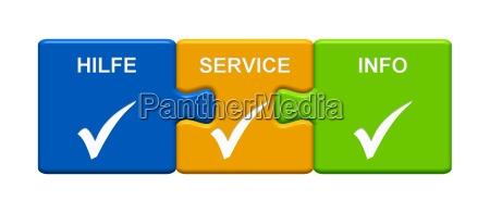 3 puzzle buttons zeigen hilfe service