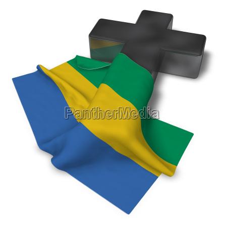 christian cross and flag of gabon