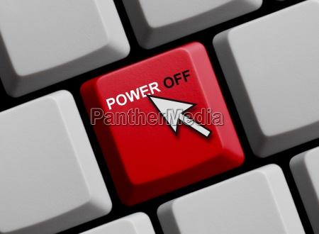 power off auf roter computer tastatur