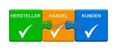 3 puzzle buttons zeigen hersteller handel