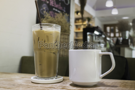 hot coffee and iced coffee on