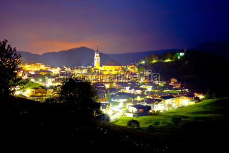 town of kastelruth skyline evening view
