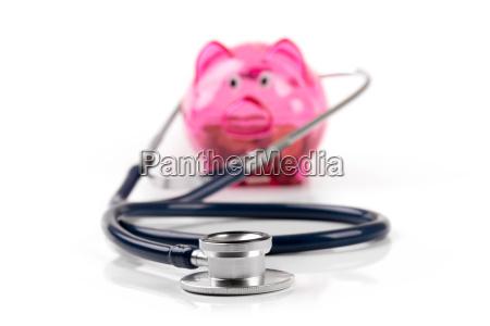 health care budget and savings piggy