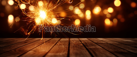 bokeh background with sparkler and stage