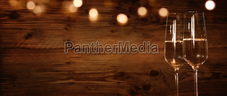 rustic background with champagne