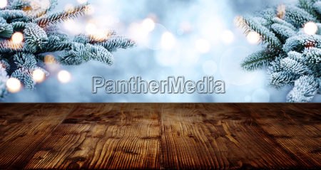 rustic wooden table in winter