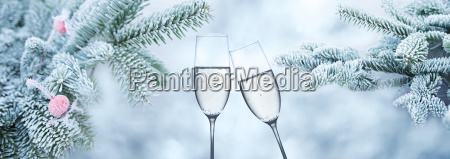 winter background with champagne for congratulations