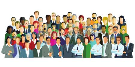 gruppenbild mit verschiedenen personen illustration