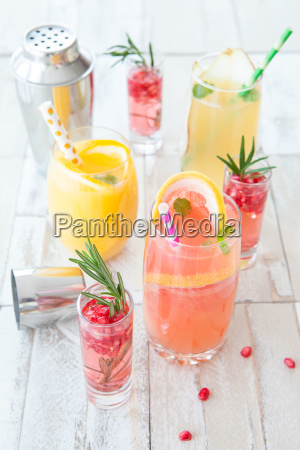 colorful cocktails with fruit