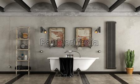 badezimmer im industriellen stil mit badewanne