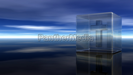 christian cross in a glass cube