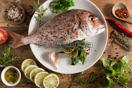 fresh fish with herbs filling