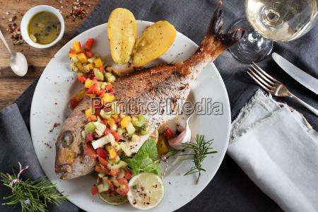 festively prepared fish