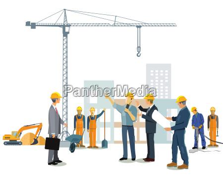 baustelle mit architekt und bauherrn