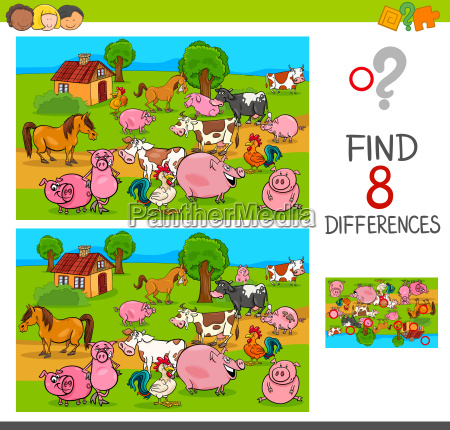 differences game with farm animal characters