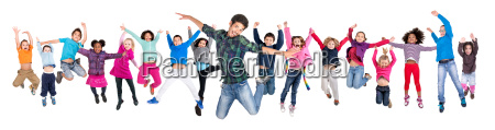 teacher and kids jumping isolated
