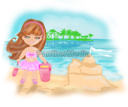 kleines maedchen am tropischen strand macht