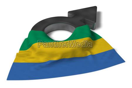 marssymbol und flagge von gabun