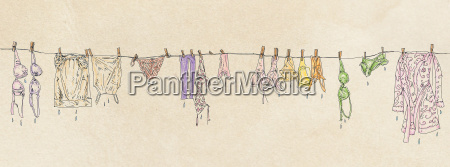 banners of womens clothes hanging out