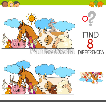differences game with farm animals group