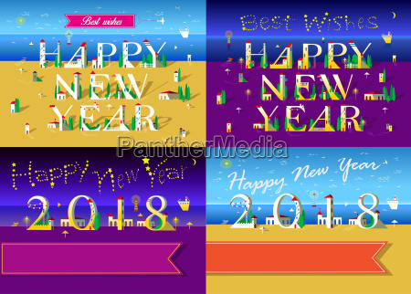 new years cards with beach sea
