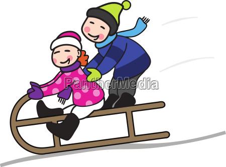 zwei kinder beim schlittenfahren vektor illustration