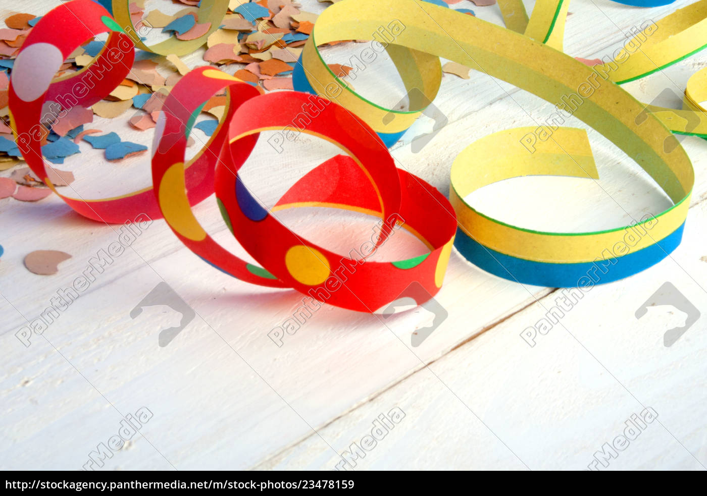 colorful, streamers, and, confetti, on, white - 23478159