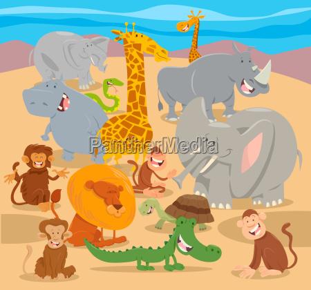 wilde tiercharakterkarikatur der safari