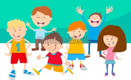cartoon children comic characters group