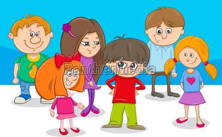 kid characters group cartoon illustration