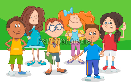 funny cartoon children characters group