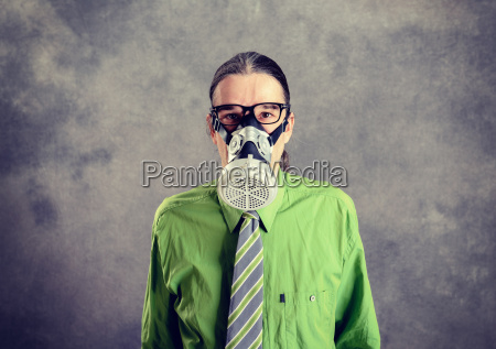 young business man in green shirt