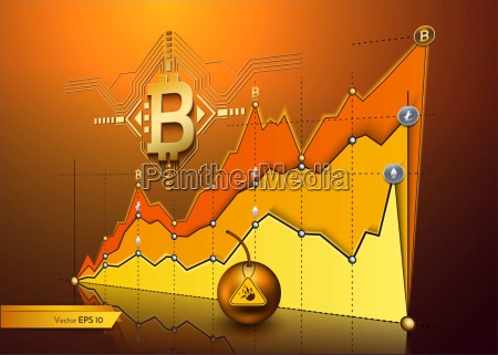 digital vector bitcoin cryptocurrency chart diagram