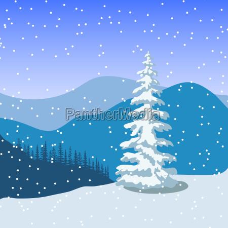 winter weihnachtslandschaft mit silhouetten von bergen
