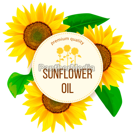 sunflowers and leaves around circle badge