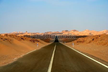 road through the kaluts desert