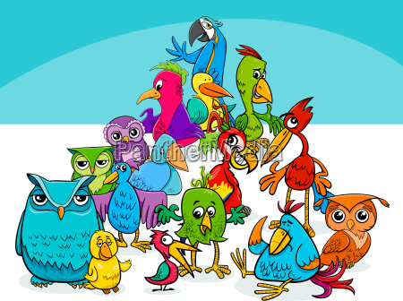 colorful birds group cartoon illustration