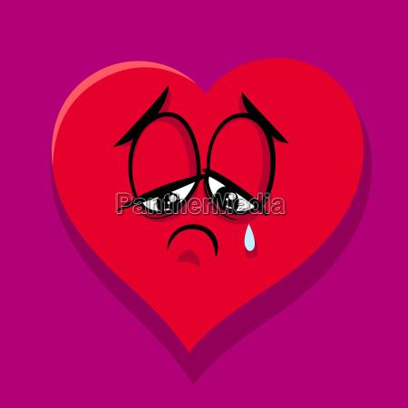 sad broken heart cartoon illustration