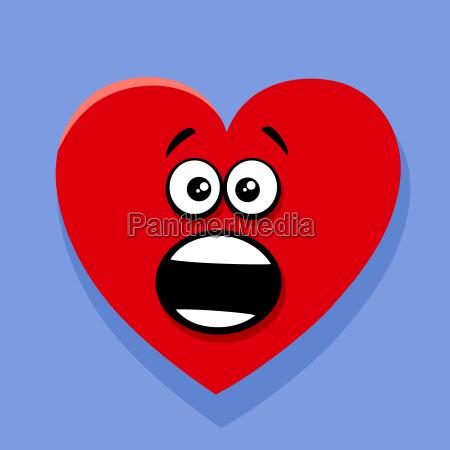 shocked valentine heart cartoon illustration