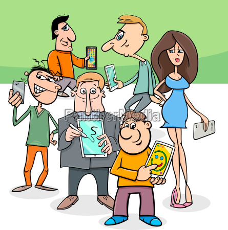 cartoon people group with electronic devices