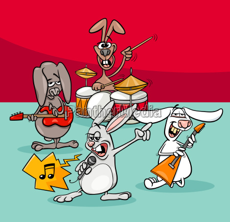 rabbits rock musicians band cartoon illustration