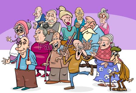 aeltere charaktere gruppieren karikaturillustration