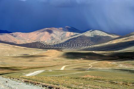 dark skies over tibetan plateau