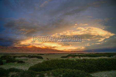beautiful sunset in tibetan mountains